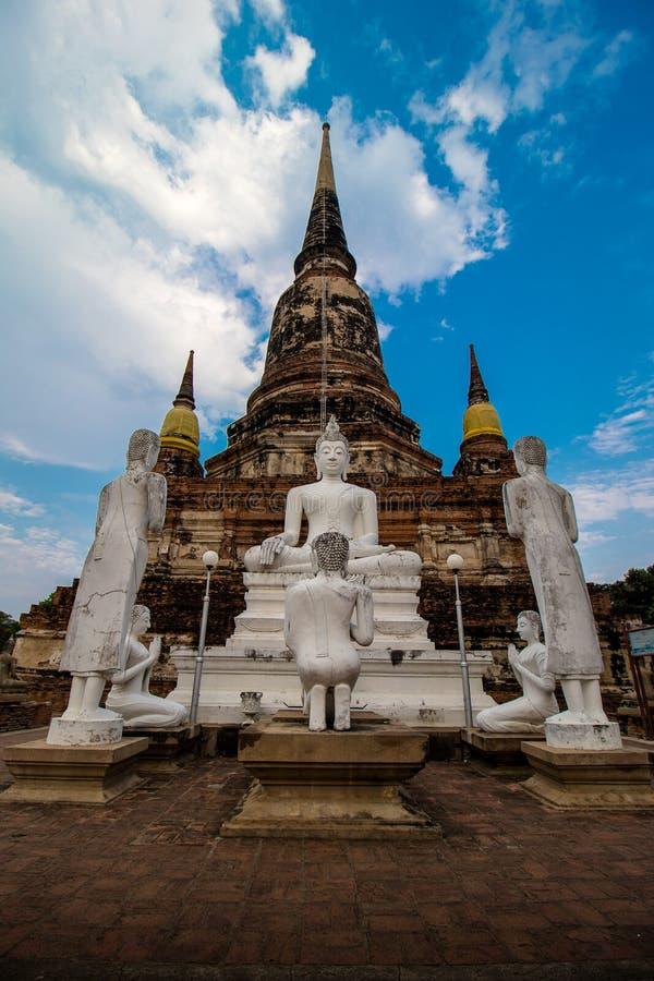 The Pagoda and Buddha Status at Wat Yai Chaimongkol, Ayutthaya, stock photo