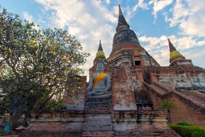 The Pagoda and Buddha Status at Wat Yai Chaimongkol, Ayutthaya, royalty free stock image