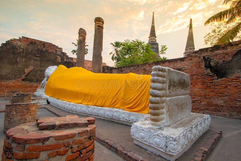 The Pagoda and Buddha Status at Wat Yai Chaimongkol, Ayutthaya, royalty free stock images
