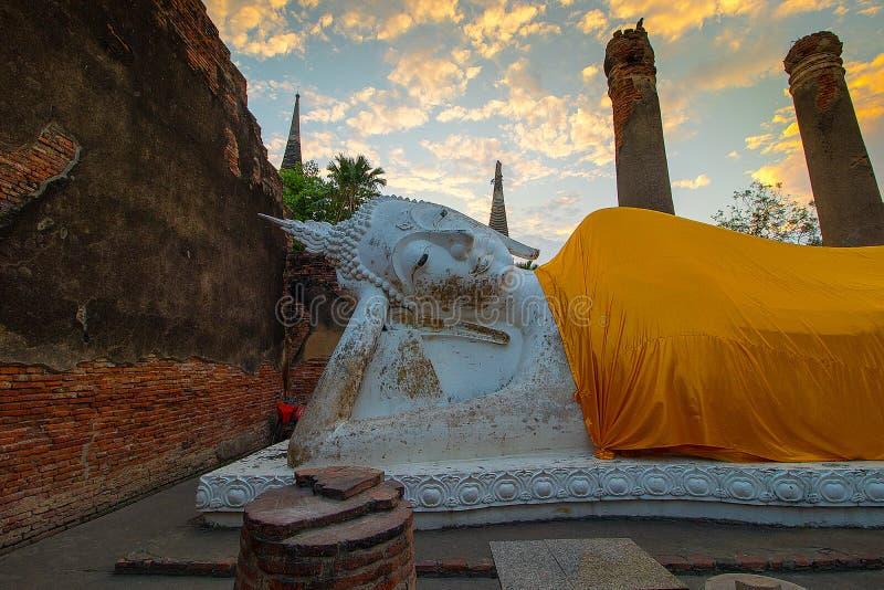 The Pagoda and Buddha Status at Wat Yai Chaimongkol, Ayutthaya, stock image
