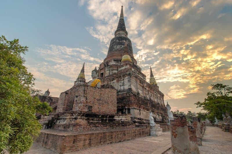 The Pagoda and Buddha Status at Wat Yai Chaimongkol, Ayutthaya, royalty free stock photos