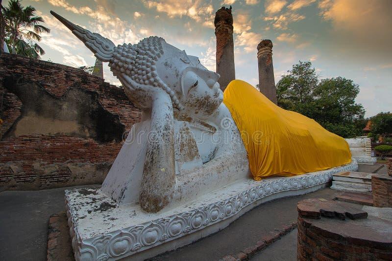The Pagoda and Buddha Status at Wat Yai Chaimongkol, Ayutthaya, stock photography