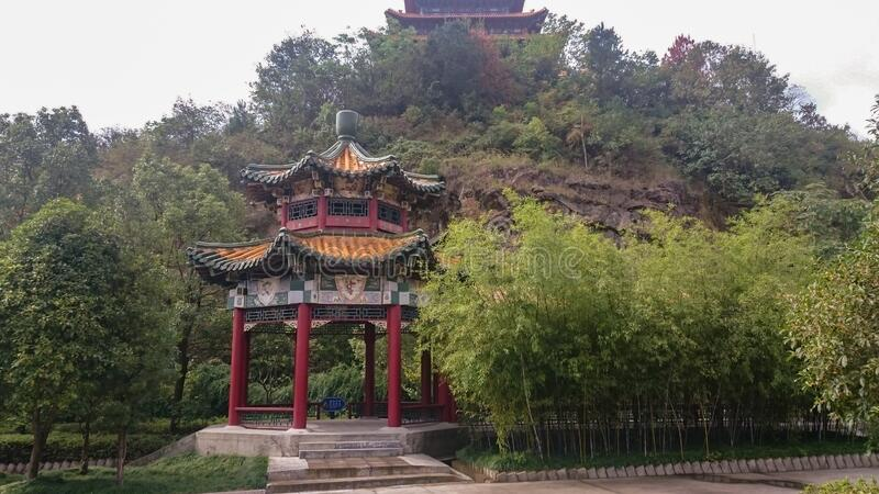 Pagoda Buddhist temple in a Chinese Taoist monastery. In the mountains stock photo