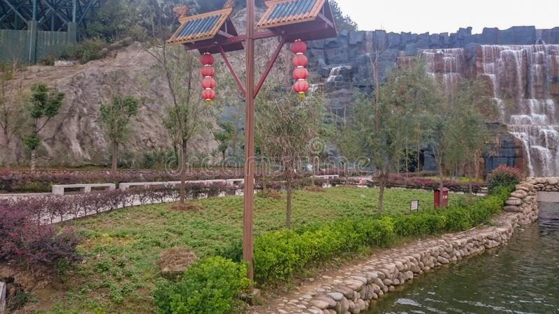 Pagoda Buddhist temple in a Chinese Taoist monastery. In the mountains royalty free stock image