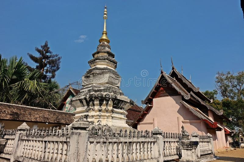 Pagoda in budhist temple, Northern Thailand architecture. Travel destination for tourist and budhist royalty free stock images