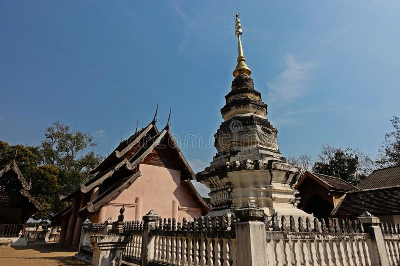 Pagoda in budhist temple, Northern Thailand architecture. Travel destination for tourist and budhist stock photography