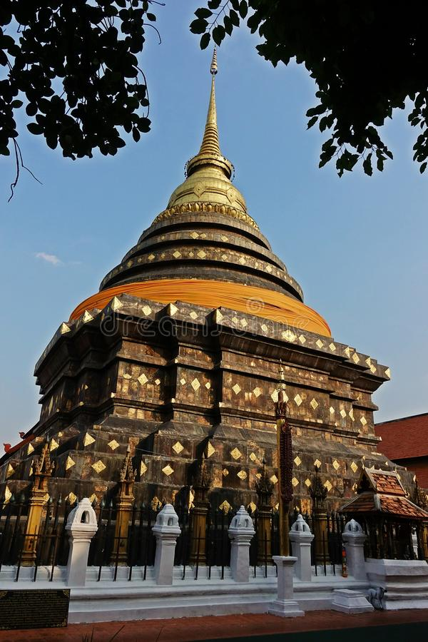 Pagoda in budhist temple, Northern Thailand architecture. Travel destination for tourist and budhist stock image