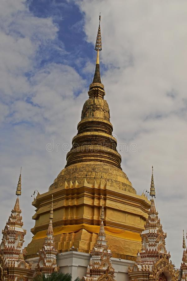 Pagoda in budhist temple, Northern Thailand architecture. Travel destination for tourist and budhist royalty free stock photography