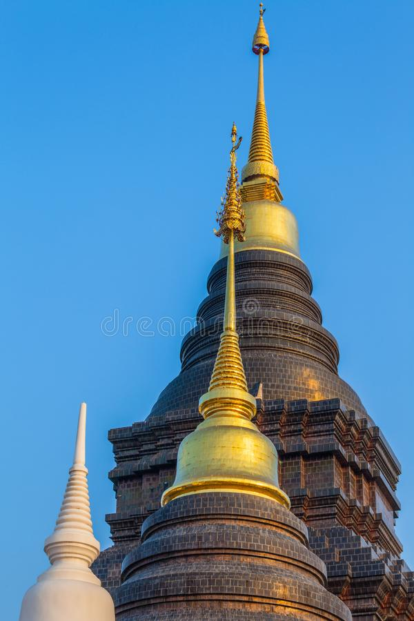 Pagoda built in the architecture in Ban Den temple Chiang Mai. Pagoda built in the architecture of Thai Lanna style in Ban Den temple Chiang Mai royalty free stock photography