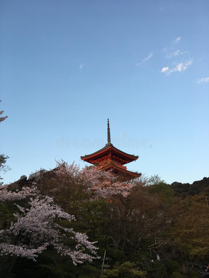 Pagoda chez Kiyomizu Dera Temple Kyoto avec Sakura photographie stock libre de droits