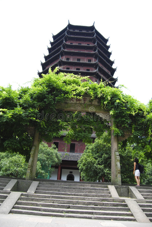 Pagoda, China. Pagoda temple in western china with a grand trellis entrance stock photos