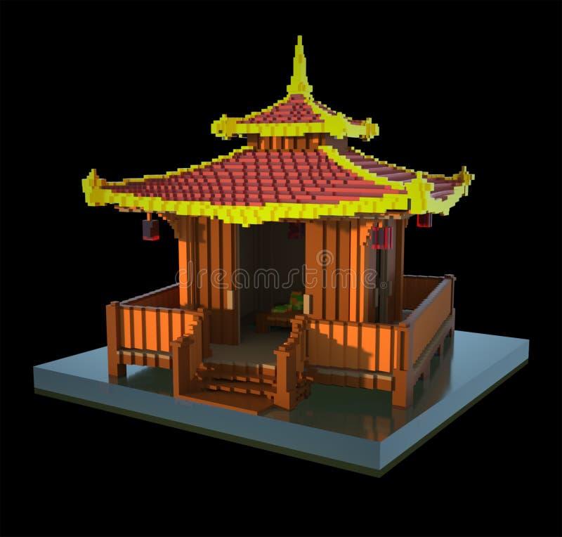 Pagoda china - arte 3d ilustración del vector