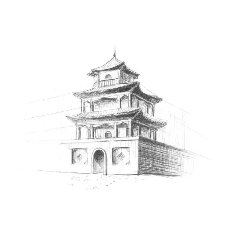 Pagoda china pintada con un lápiz A mano Cierre para arriba Aislador stock de ilustración