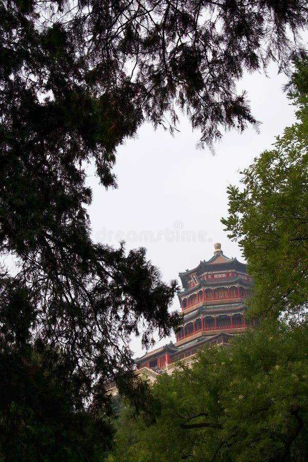 Pagoda chinoise encadrée par les arbres verts images stock
