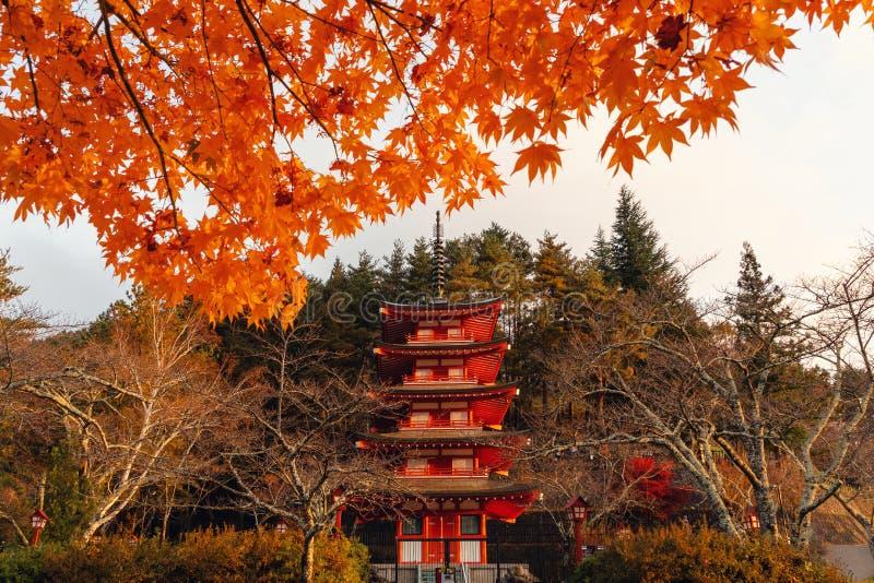 Pagoda de Chureito en otoño con el follaje de otoño, Fujiyoshida, Japón fotos de archivo libres de regalías