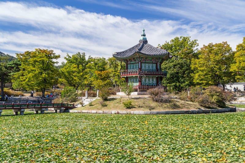 Pagoda de Hwangwonjeong dans le palais de Gyeongbokgung, Séoul, Corée photos libres de droits