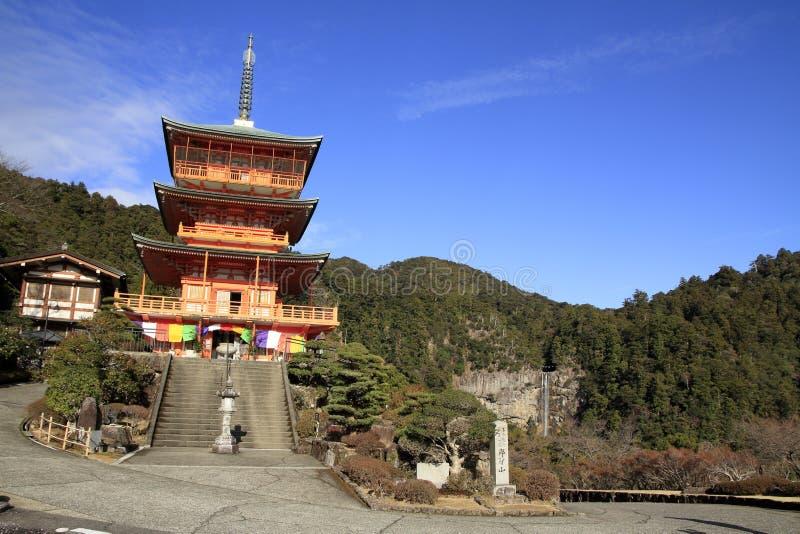 Pagoda de las ca?das de Nachi y de tres historias del ji de Seiganto fotos de archivo