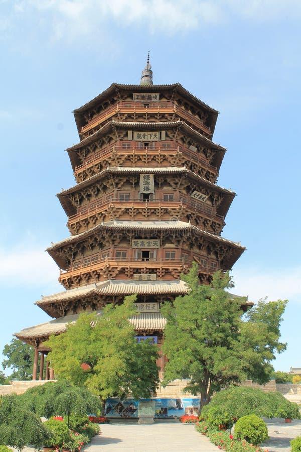 Pagoda de Sakyamuni de temple de Fogong, Shanxi, Chine image libre de droits
