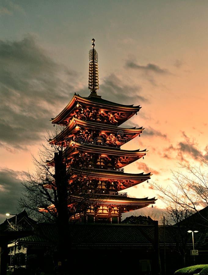 Pagoda de Senso JI Tokio Asakusa imagen de archivo libre de regalías