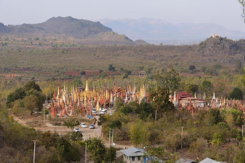 Pagoda de Shwe Indein photo stock