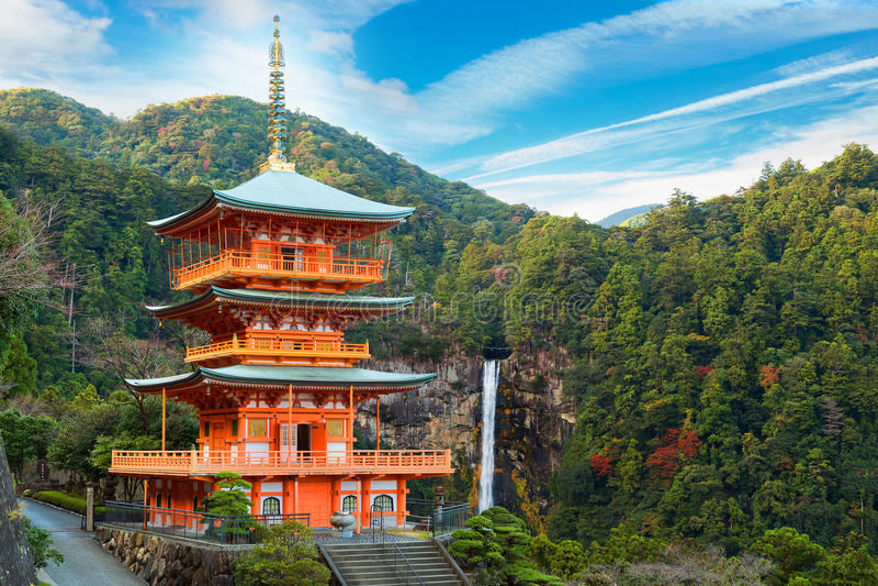 Pagoda de temple de Seiganto-JI chez Nachi Katsuura photographie stock libre de droits