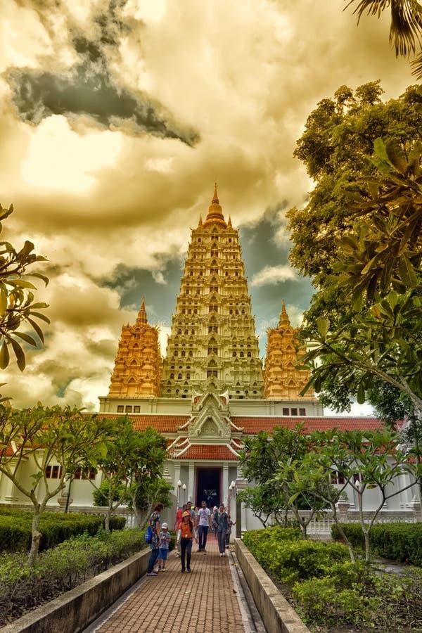 Pagoda del ‹di Thaiâ€, ‹del € di Wat Yansangwararam Templeâ a Pattaya, Thailan fotografia stock libera da diritti