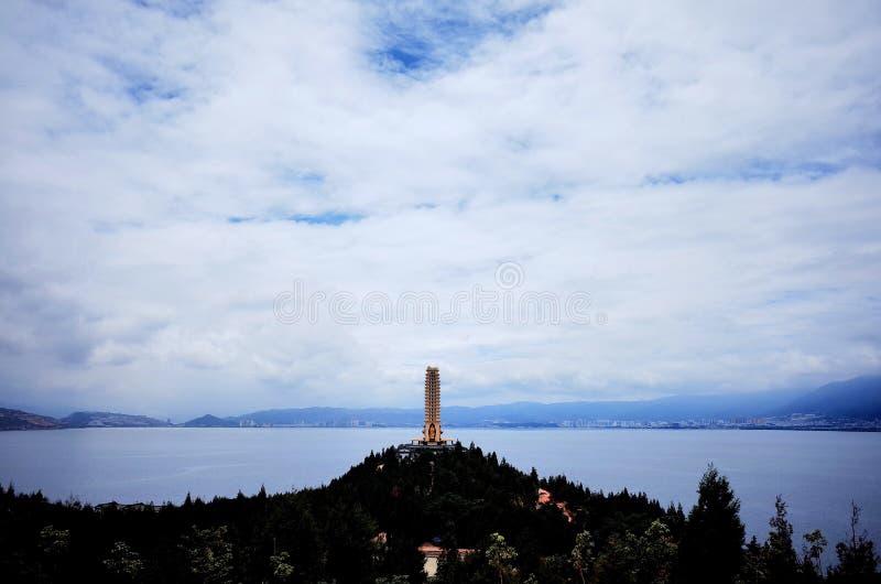 Pagoda del lago Erhai immagine stock libera da diritti