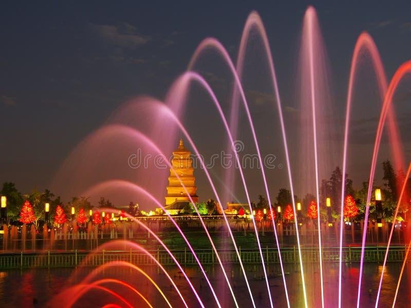 Pagoda dell'oca selvatica della Cina Shaanxi Xi'an, fontana di musica fotografia stock