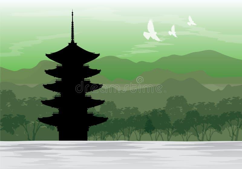 Pagoda di Chureito, Fujiyoshida, vettore del posto di viaggio del paesaggio di vista del Giappone royalty illustrazione gratis