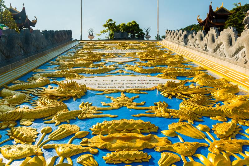 Pagoda di Hu Quoc, bello tempio buddista, isola di Phu Quoc, Vietnam fotografia stock libera da diritti