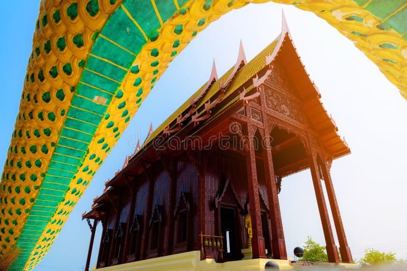 Pagoda di legno in tempio della Tailandia immagine stock libera da diritti