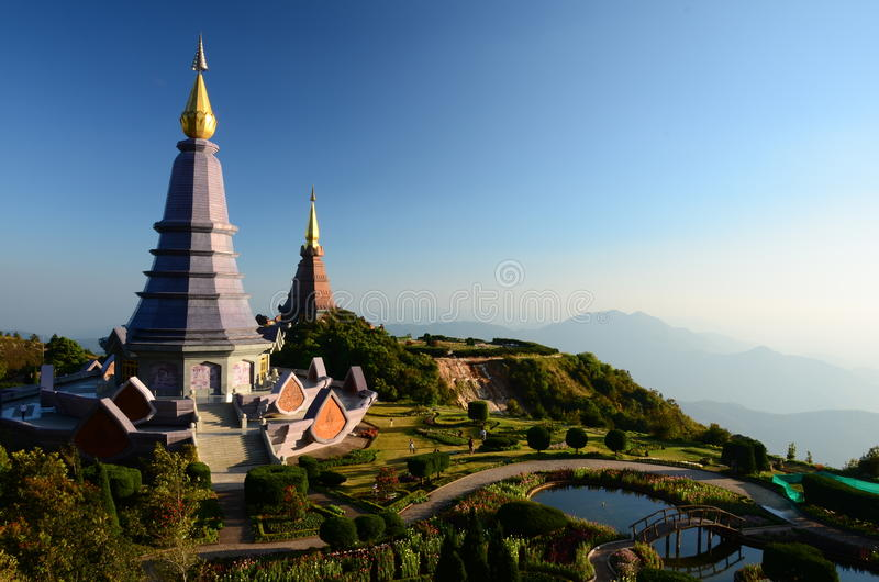 Pagoda on Doi Inthanon, Chiang Mai, Thailand. Pagoda on the highest mountain in Thailand royalty free stock images