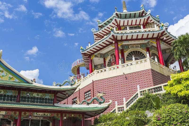 Pagoda and dragon sculpture of the Taoist Temple in Cebu, Philip. Pines royalty free stock image