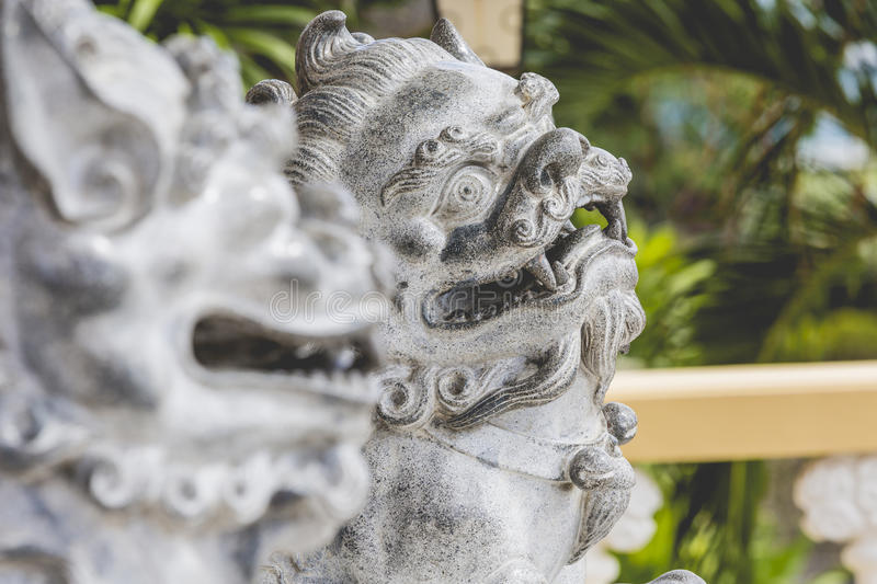 Pagoda and dragon sculpture of the Taoist Temple in Cebu, Philip. Pines stock image