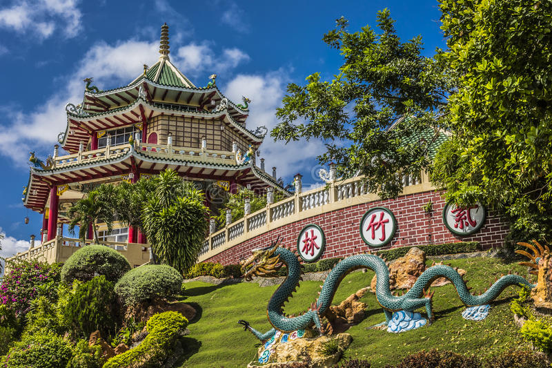 Pagoda and dragon sculpture of the Taoist Temple in Cebu, Philip. Pines royalty free stock photo