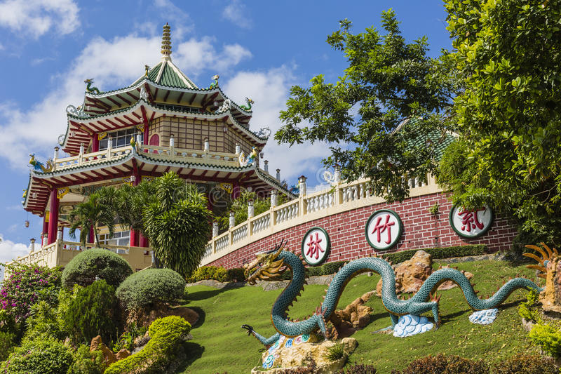 Pagoda and dragon sculpture of the Taoist Temple in Cebu, Philip. Pines royalty free stock photos