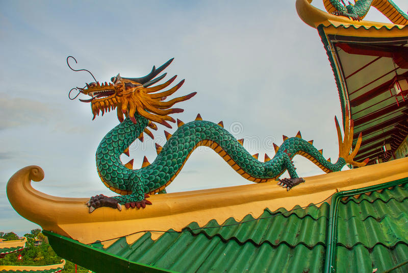 Pagoda and dragon sculpture of the Taoist Temple in Cebu, Philippines. Beautiful Pagoda and dragon sculpture of the Taoist Temple in Cebu, Philippines royalty free stock photography