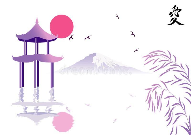 Pagoda e montagna fotografia stock