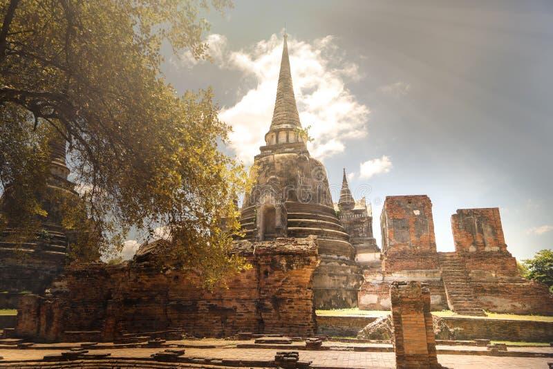 Pagoda en el templo de Wat Phra Si Sanphet imagen de archivo