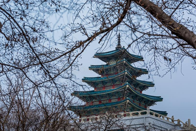 Pagoda en Gyeongbokgung imágenes de archivo libres de regalías