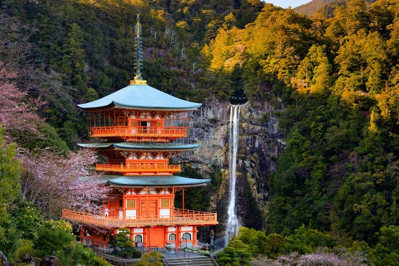 Pagoda et cascade japonaises images libres de droits