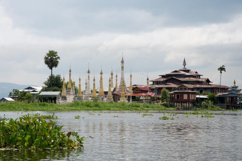 Pagoda on famous inle lake in central myanmar royalty free stock photo