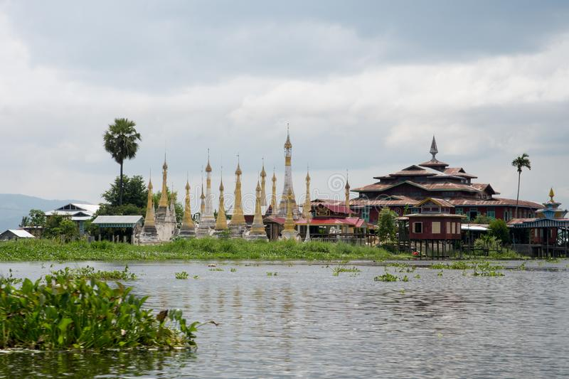 Pagoda on famous inle lake in central myanmar stock photo