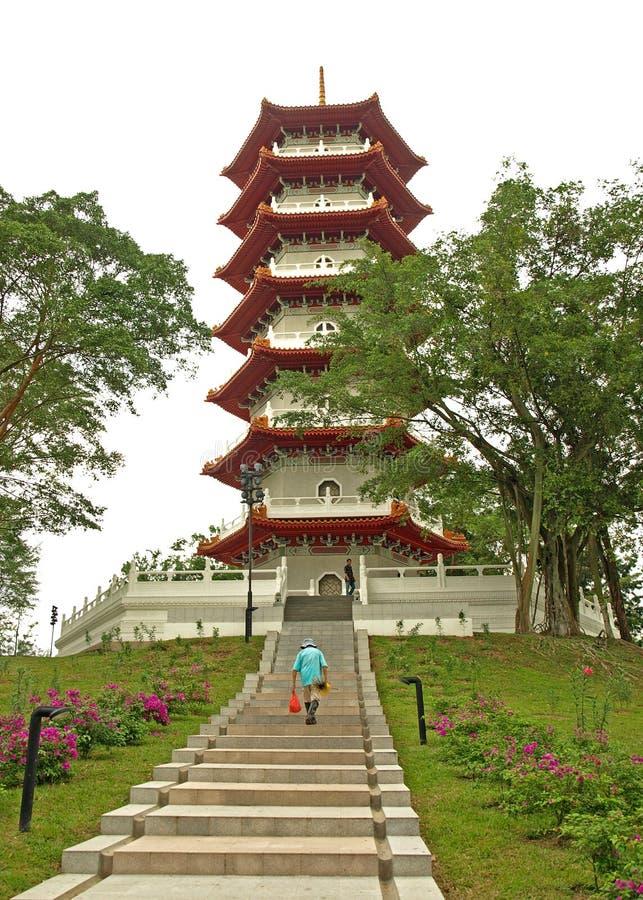 Pagoda in giardini cinesi, Singapore immagine stock libera da diritti
