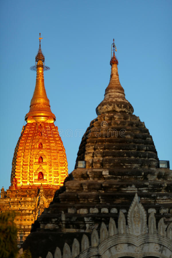 Download Pagoda With Golden Gilded Stupa In Bagan Stock Image - Image: 24326555