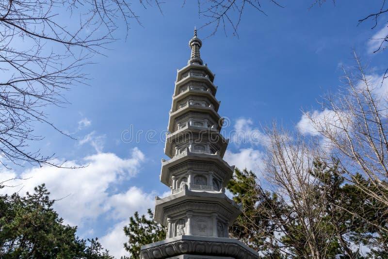 Pagoda in Haedong Yonggungsa Temple. Pagoda near the main entrance to Haedong Yonggungsa Temple in busan, south korea royalty free stock photos