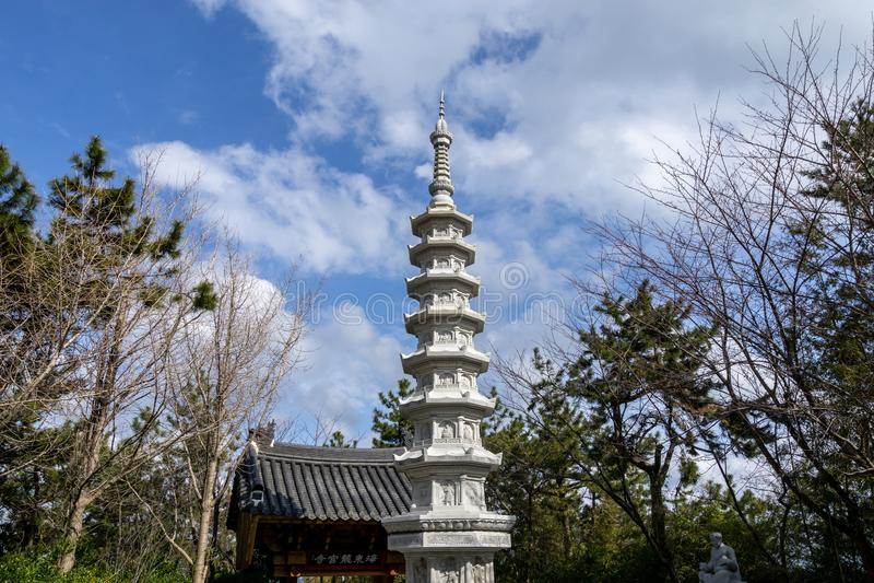 Pagoda in Haedong Yonggungsa Temple. Pagoda near the main entrance to Haedong Yonggungsa Temple in busan, south korea stock images