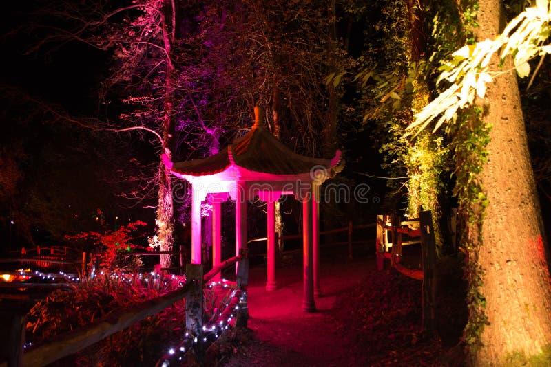 Pagoda iluminada en la noche fotos de archivo