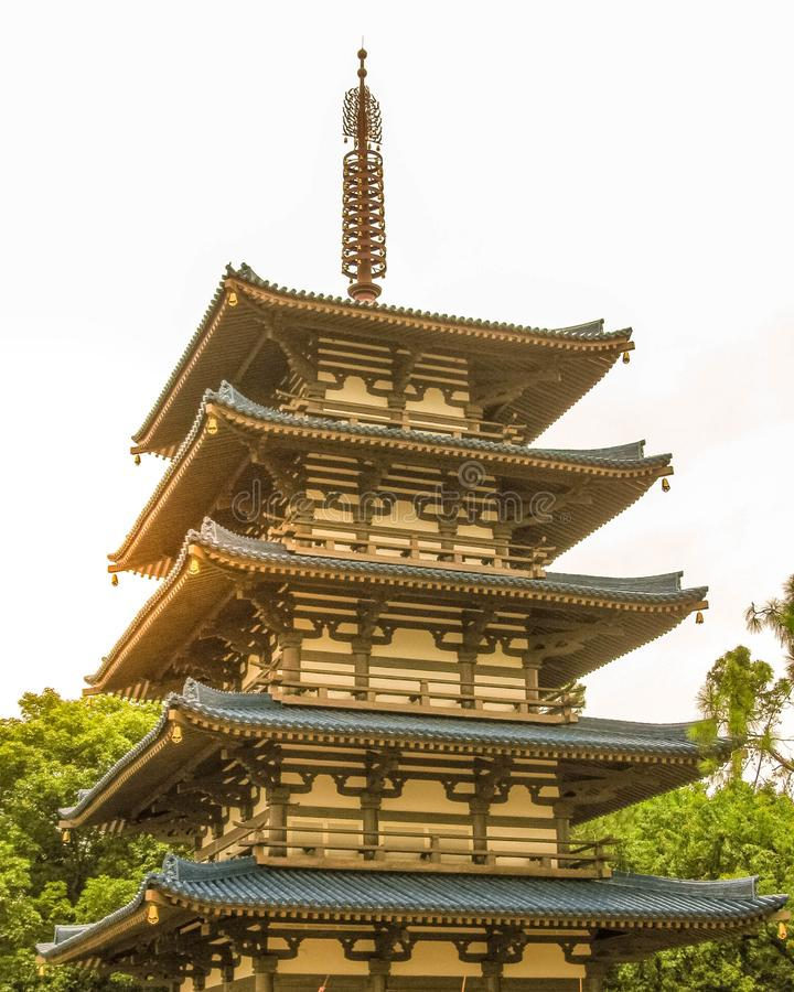 Pagoda at the Japan Pavilion at Epcot. In Orlando Florida at Walt Disney World. Inspired by the Japanese culture of traditional and old world Japan royalty free stock photography