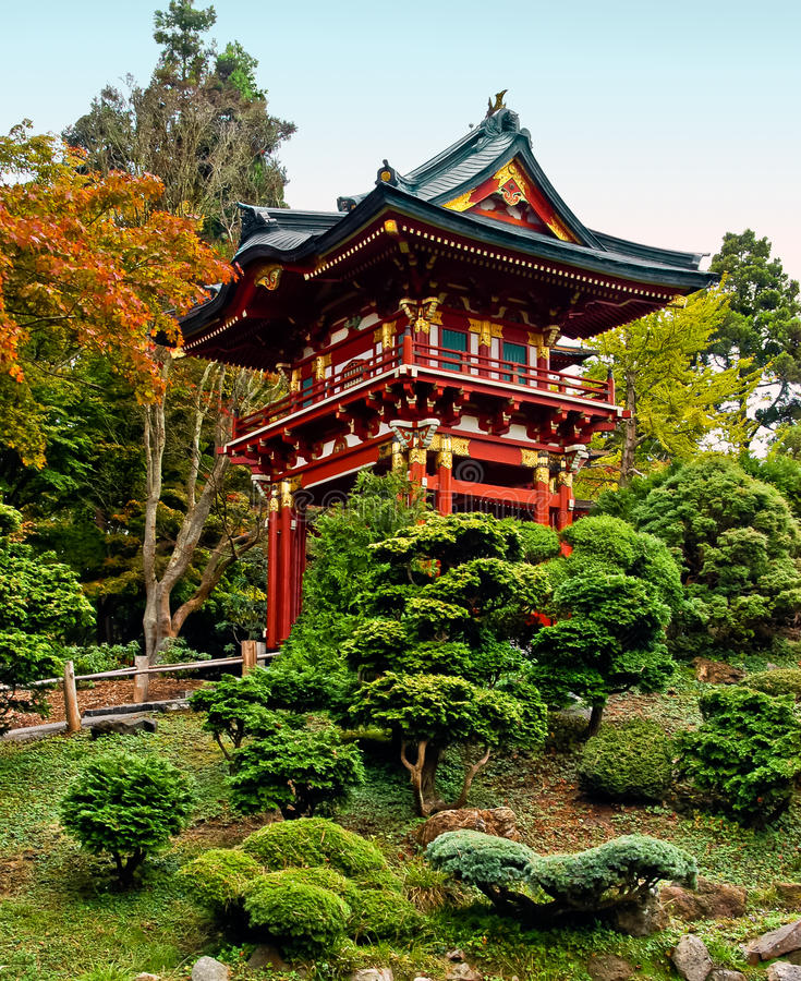 Pagoda in the Japanese Tea Garden stock images
